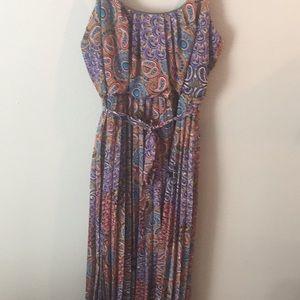 MultiColor high waist pleated maxi dress